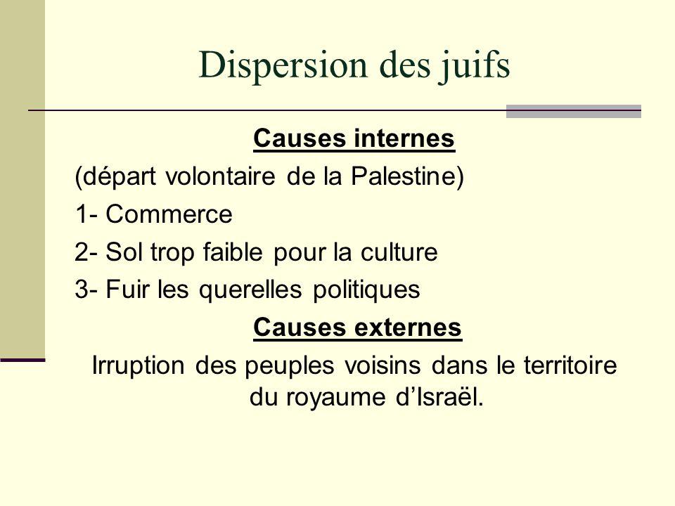 Dispersion des juifs Causes internes (départ volontaire de la Palestine) 1- Commerce 2- Sol trop faible pour la culture 3- Fuir les querelles politiqu