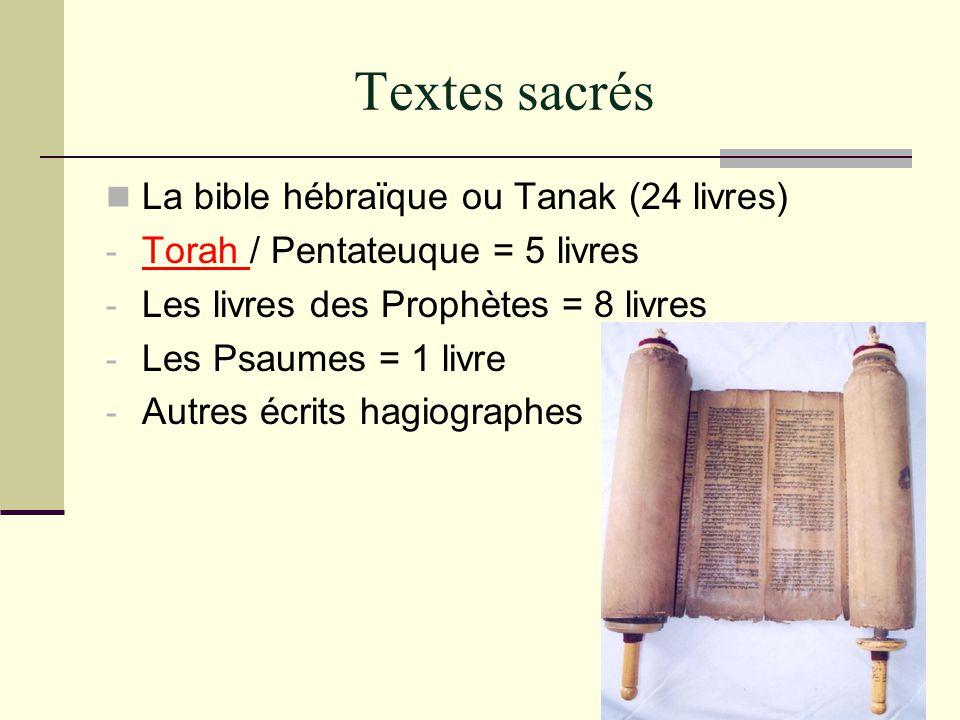 Textes sacrés La bible hébraïque ou Tanak (24 livres) - Torah / Pentateuque = 5 livres - Les livres des Prophètes = 8 livres - Les Psaumes = 1 livre -