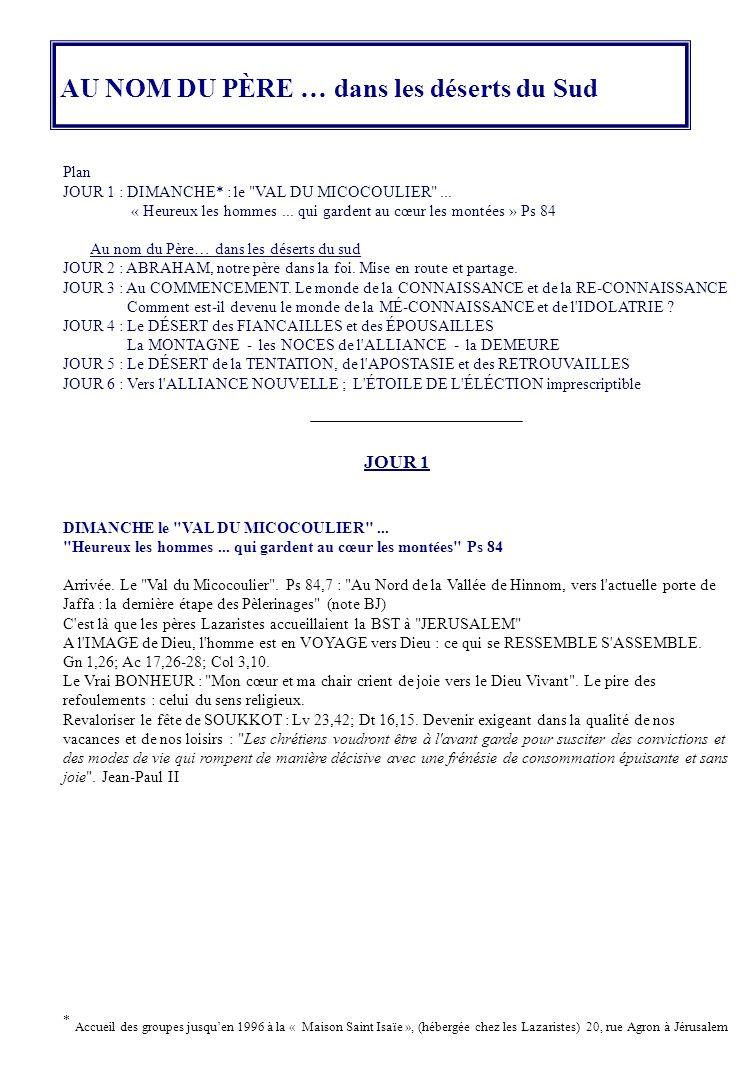 Plan JOUR 1 : DIMANCHE* : le VAL DU MICOCOULIER ...