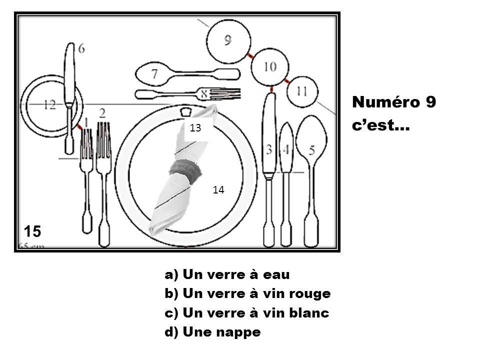 a)Un verre à eau b)Un verre à vin rouge c)Un verre à vin blanc d)Une nappe 15 13 14 Numéro 9 cest…