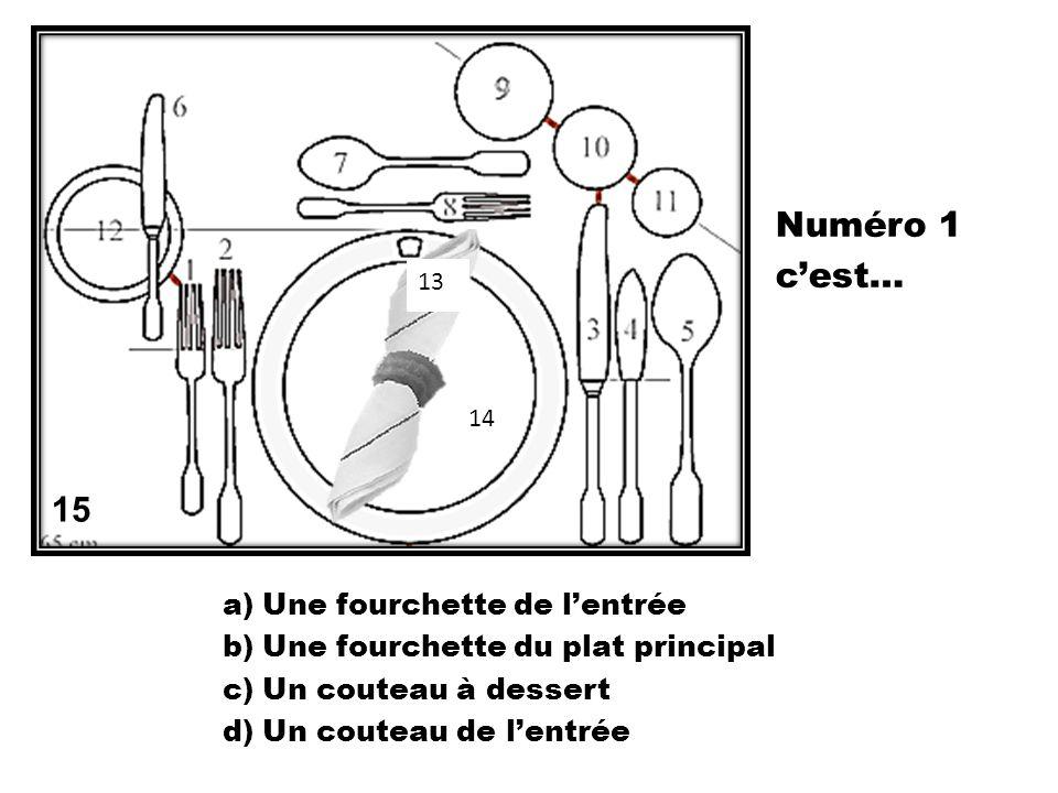 a)Une fourchette à soupe b)Un verre à soupe c)Une cuillère à soupe d)Un couteau à soupe 15 13 14 Numéro 5 cest…