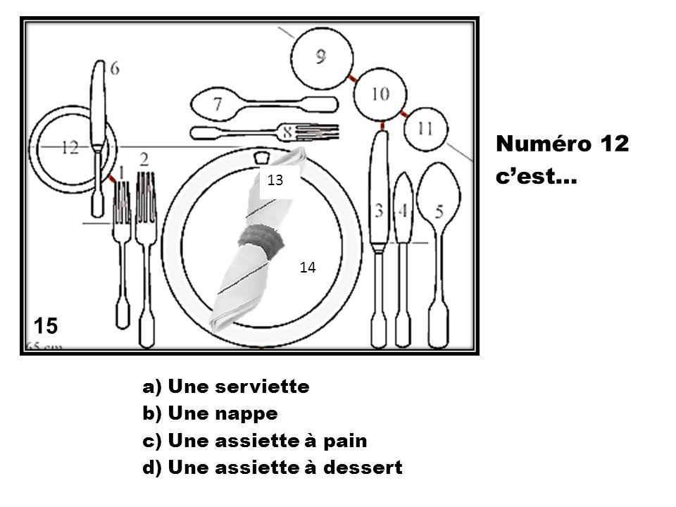 a)Une serviette b)Une nappe c)Une assiette à pain d)Une assiette à dessert 15 13 14 Numéro 12 cest…
