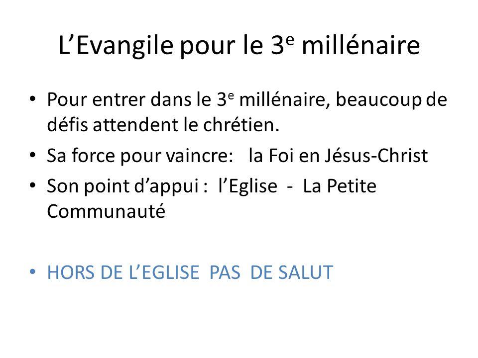 LEvangile pour le 3 e millénaire Pour entrer dans le 3 e millénaire, beaucoup de défis attendent le chrétien.