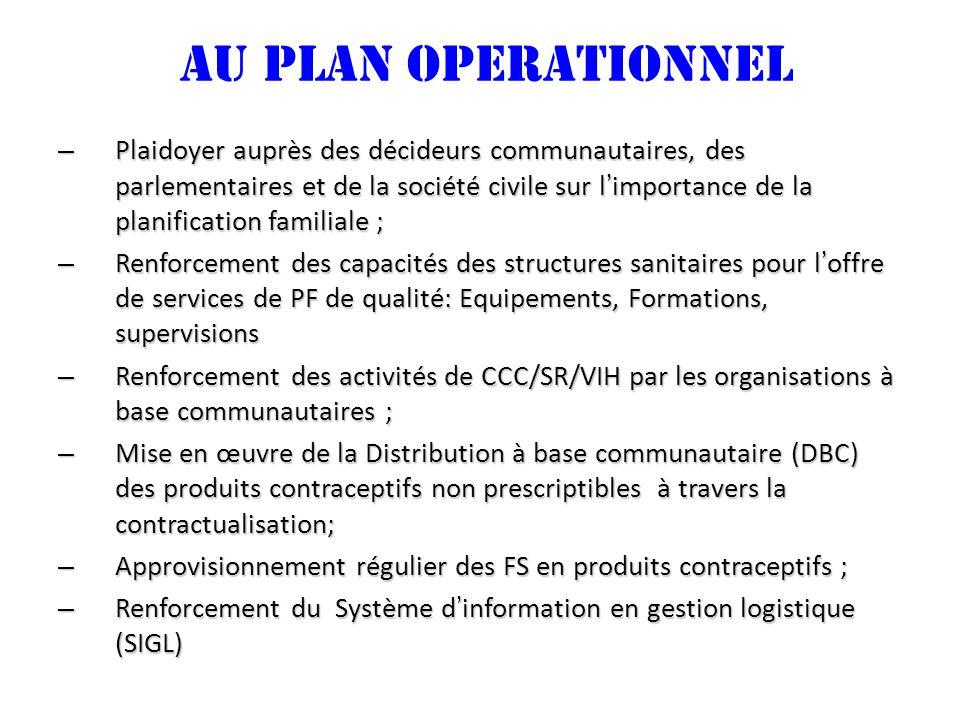 AU PLAN OPERATIONNEL – Plaidoyer auprès des décideurs communautaires, des parlementaires et de la société civile sur limportance de la planification f