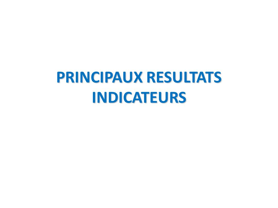 PRINCIPAUX RESULTATS INDICATEURS