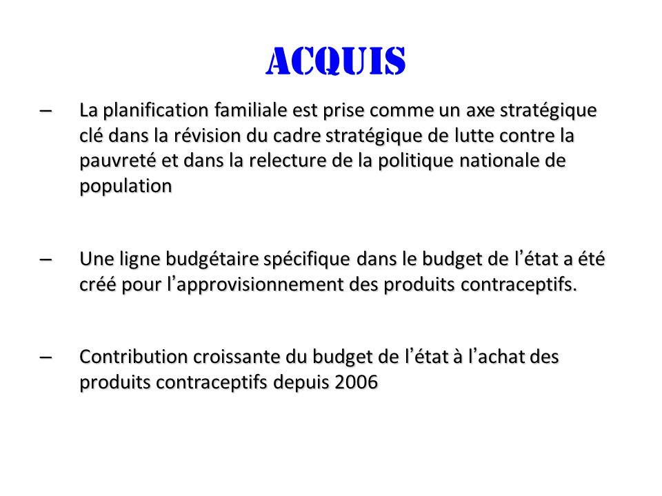 ACQUIS – La planification familiale est prise comme un axe stratégique clé dans la révision du cadre stratégique de lutte contre la pauvreté et dans la relecture de la politique nationale de population – Une ligne budgétaire spécifique dans le budget de létat a été créé pour lapprovisionnement des produits contraceptifs.