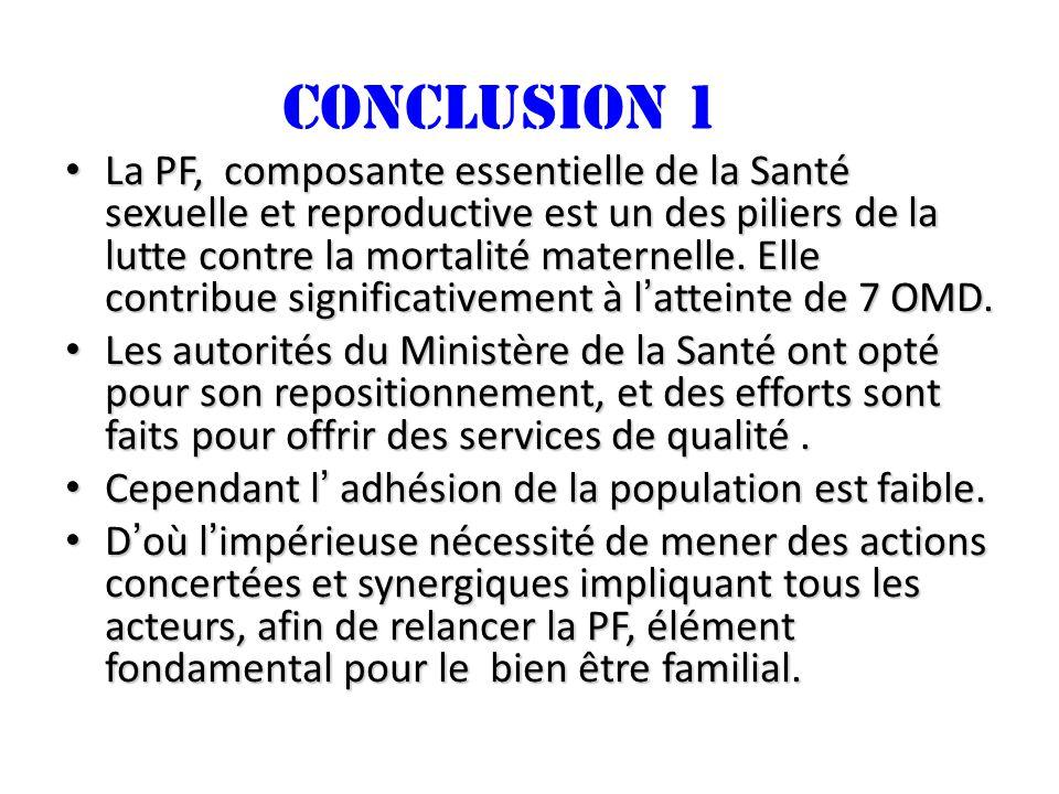 CONCLUSION 1 La PF, composante essentielle de la Santé sexuelle et reproductive est un des piliers de la lutte contre la mortalité maternelle. Elle co