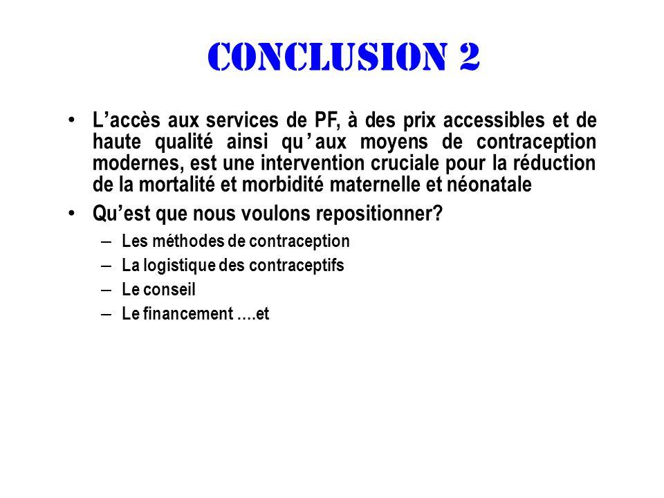 CONCLUSION 2 Laccès aux services de PF, à des prix accessibles et de haute qualité ainsi quaux moyens de contraception modernes, est une intervention