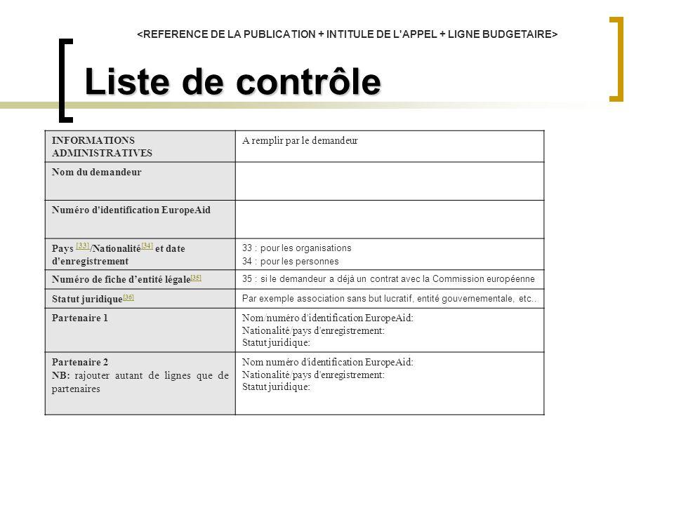 Liste de contrôle AVANT D ENVOYER VOTRE DEMANDE, VEUILLEZ VERIFIER QUE CHACUN DES ELEMENTS SUIVANTS DE VOTRE DOSSIER EST COMPLET ET REMPLIT LES CRITERES CI-DESSOUS : A compléter par le demandeur Intitulé de la proposition :OuiNon PARTIE 1 (ADMINISTRATIF) 1.