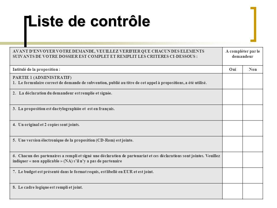 Liste de contrôle PARTIE 2 (ELIGIBILITE) 9.