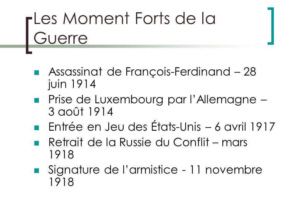 Les Moment Forts de la Guerre Assassinat de François-Ferdinand – 28 juin 1914 Prise de Luxembourg par lAllemagne – 3 août 1914 Entrée en Jeu des États-Unis – 6 avril 1917 Retrait de la Russie du Conflit – mars 1918 Signature de larmistice - 11 novembre 1918