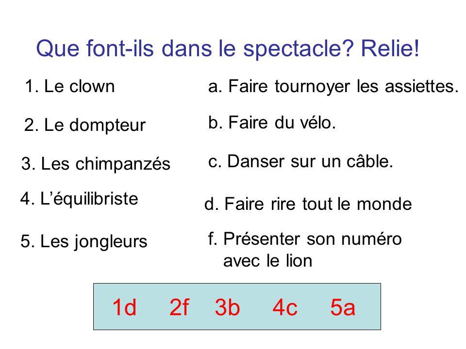 Que font-ils dans le spectacle? Relie! 1. Le clown 5. Les jongleurs 2. Le dompteur 3. Les chimpanzés 4. Léquilibriste f. Présenter son numéro avec le