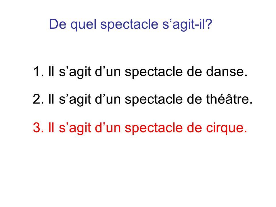 De quel spectacle sagit-il? 1. Il sagit dun spectacle de danse. 2. Il sagit dun spectacle de théâtre. 3. Il sagit dun spectacle de cirque.