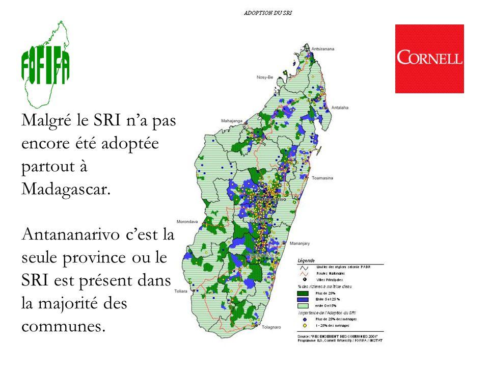 Une étude effectué dans 5 villages près d Antsirabe et de Ranomafana en 2000 aussi indique que le SRI nest pas pratiqué par de nombreux agriculteurs.