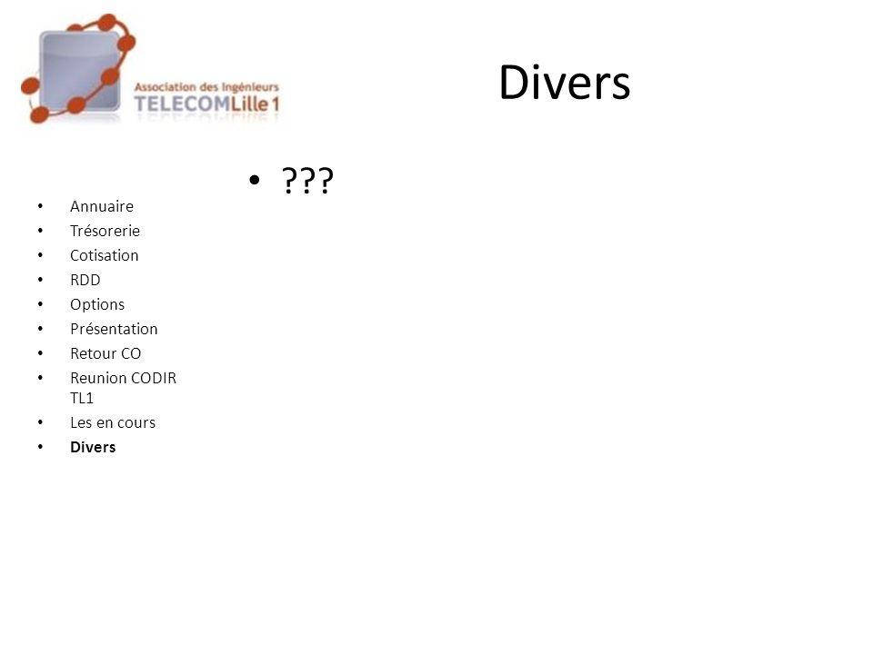 ??? Annuaire Trésorerie Cotisation RDD Options Présentation Retour CO Reunion CODIR TL1 Les en cours Divers