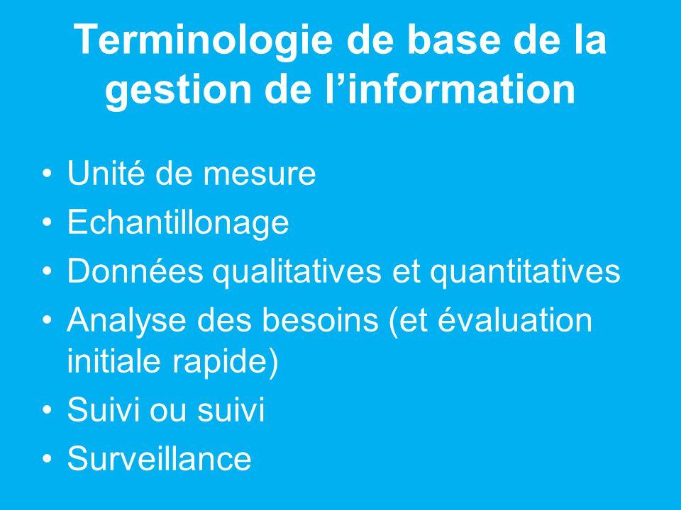 Terminologie de base de la gestion de linformation Unité de mesure Echantillonage Données qualitatives et quantitatives Analyse des besoins (et évaluation initiale rapide) Suivi ou suivi Surveillance