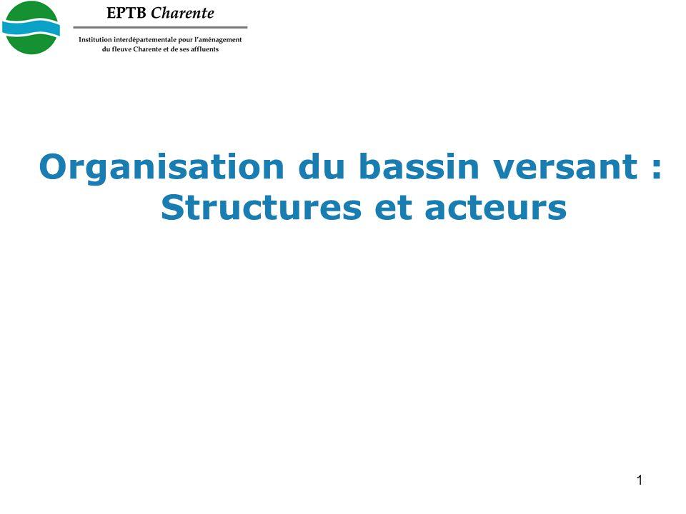 1 Organisation du bassin versant : Structures et acteurs