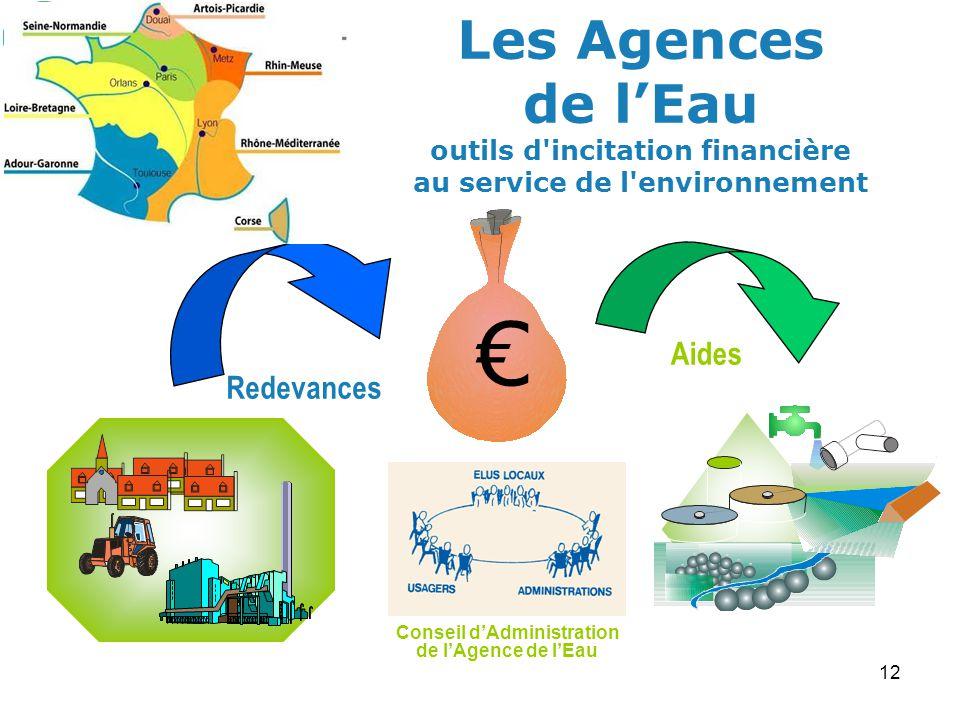 12 Conseil dAdministration de lAgence de lEau Redevances Aides Les Agences de lEau outils d incitation financière au service de l environnement
