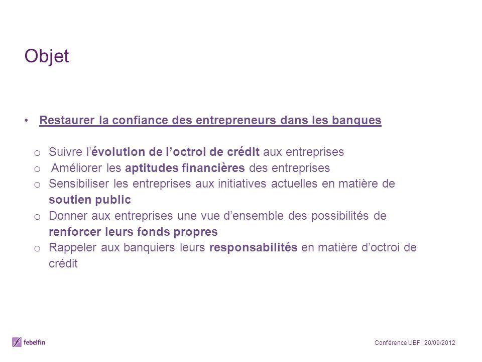Objet Restaurer la confiance des entrepreneurs dans les banques o Suivre lévolution de loctroi de crédit aux entreprises o Améliorer les aptitudes fin
