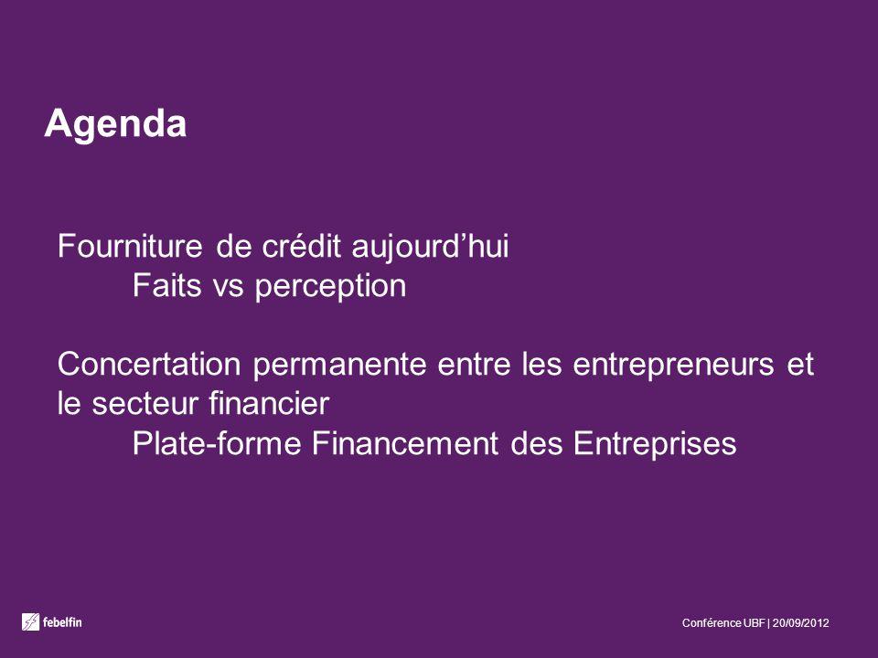 Agenda Fourniture de crédit aujourdhui Faits vs perception Concertation permanente entre les entrepreneurs et le secteur financier Plate-forme Financement des Entreprises Conférence UBF | 20/09/2012