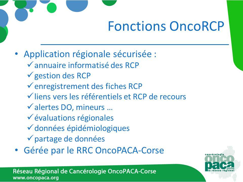 Fonctions OncoRCP Application régionale sécurisée : annuaire informatisé des RCP gestion des RCP enregistrement des fiches RCP liens vers les référent
