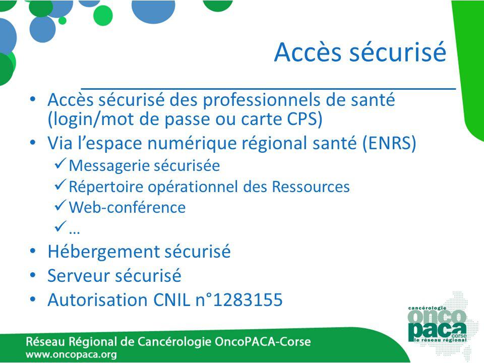 Accès sécurisé Accès sécurisé des professionnels de santé (login/mot de passe ou carte CPS) Via lespace numérique régional santé (ENRS) Messagerie séc