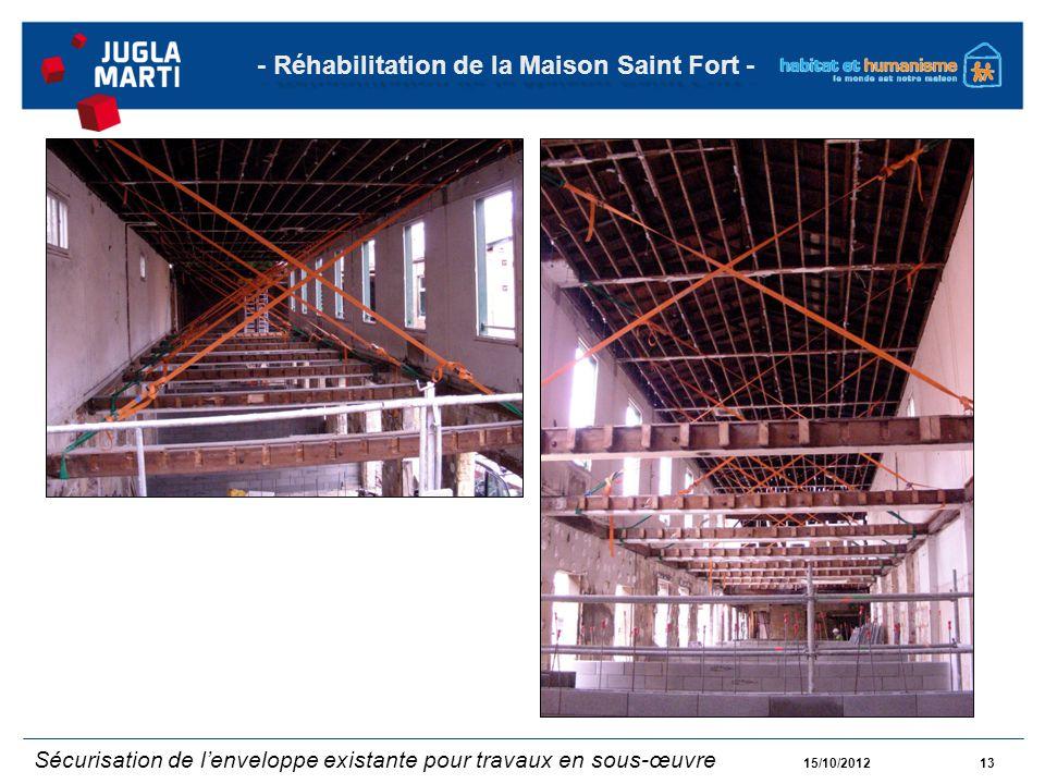 15/10/201213 - Réhabilitation de la Maison Saint Fort - Sécurisation de lenveloppe existante pour travaux en sous-œuvre
