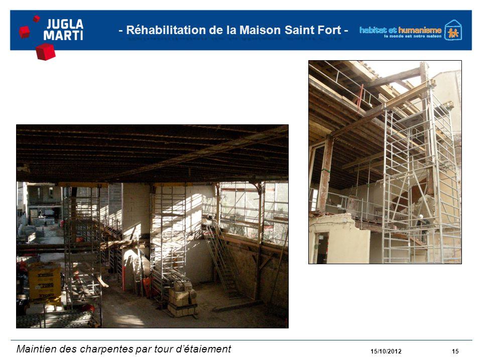15/10/201215 - Réhabilitation de la Maison Saint Fort - Maintien des charpentes par tour détaiement