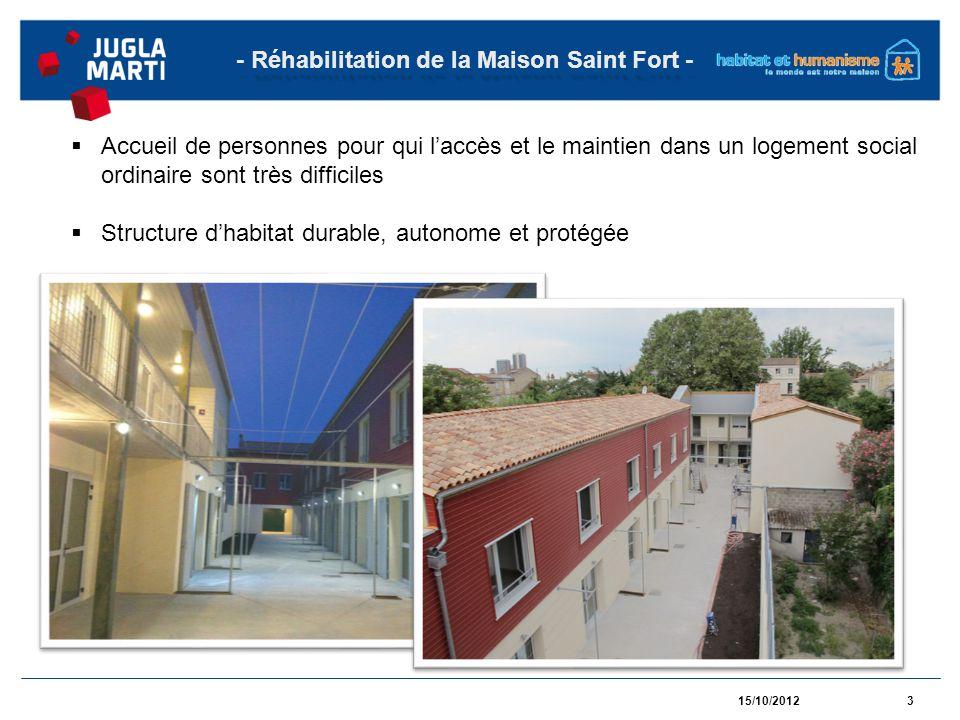 15/10/20124 - Réhabilitation de la Maison Saint Fort - Des logements autonomes Des espaces collectifs pour faciliter la rencontre, léchange et le lien social Un niveau label « BBC – réhabilitation »