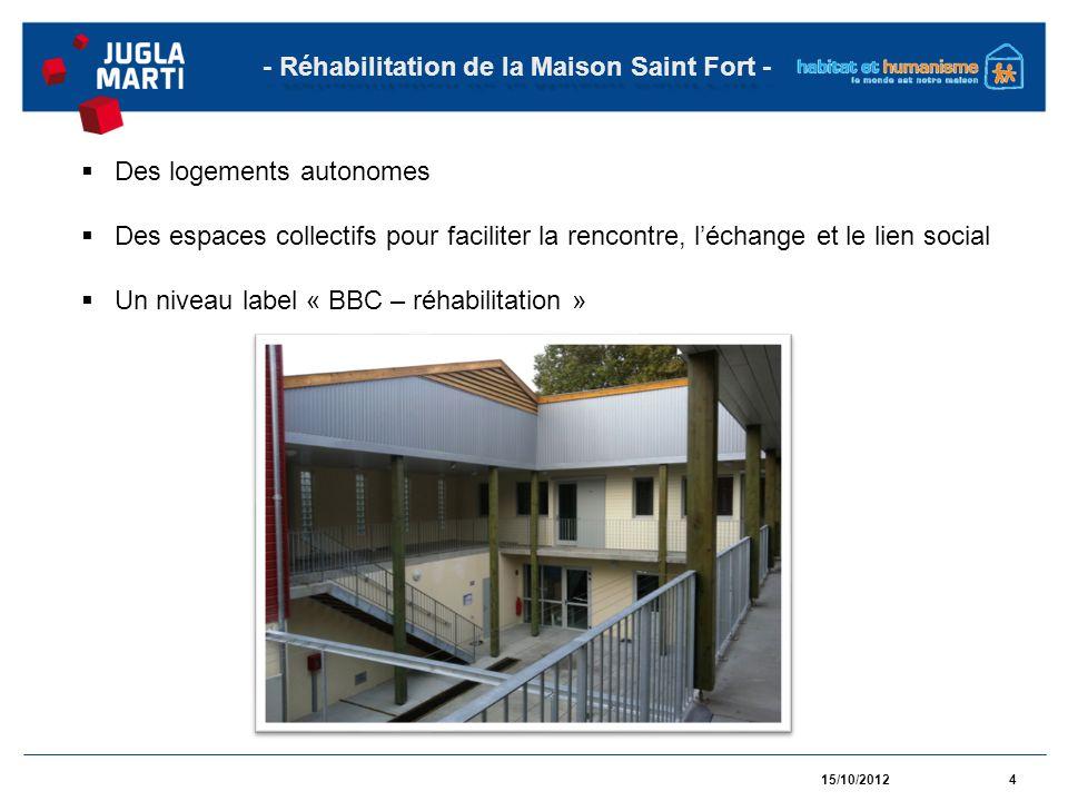 15/10/20124 - Réhabilitation de la Maison Saint Fort - Des logements autonomes Des espaces collectifs pour faciliter la rencontre, léchange et le lien