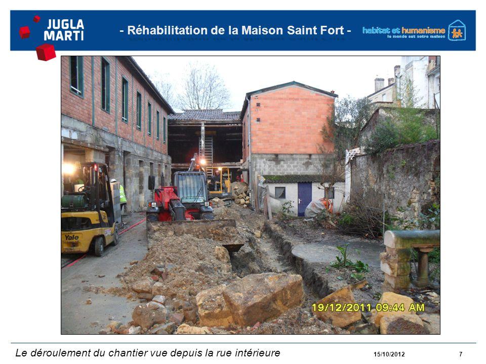 15/10/20128 - Réhabilitation de la Maison Saint Fort - Le déroulement du chantier vue depuis la rue intérieure