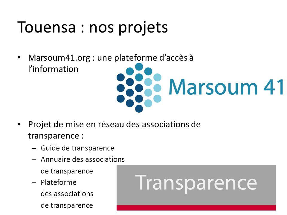 Touensa : nos projets Marsoum41.org : une plateforme daccès à linformation Projet de mise en réseau des associations de transparence : – Guide de transparence – Annuaire des associations de transparence – Plateforme des associations de transparence