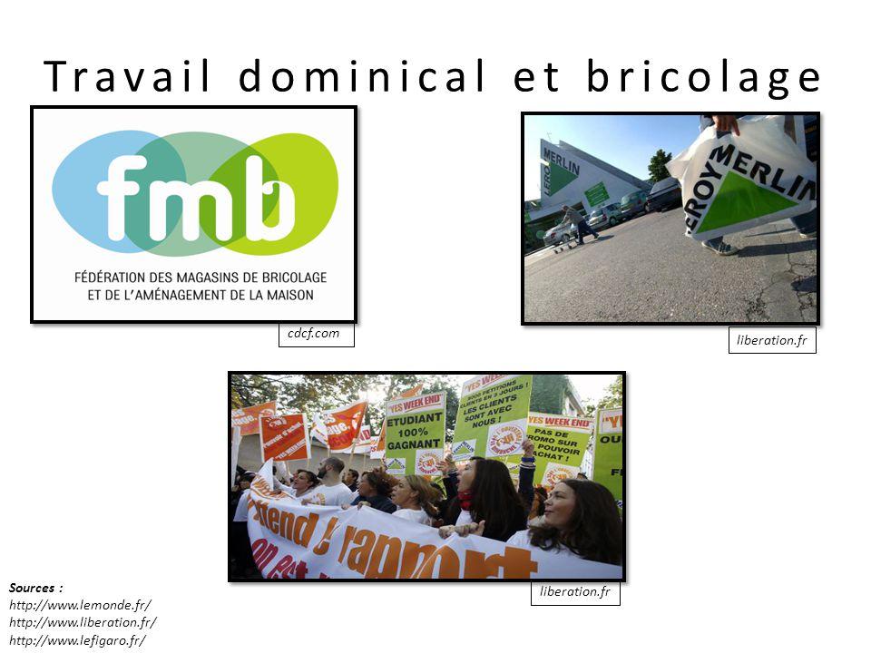 liberation.fr cdcf.com liberation.fr Travail dominical et bricolage Sources : http://www.lemonde.fr/ http://www.liberation.fr/ http://www.lefigaro.fr/