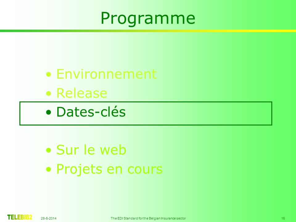 28-5-2014 The EDI Standard for the Belgian Insurance sector 15 Programme Environnement Release Dates-clés Sur le web Projets en cours
