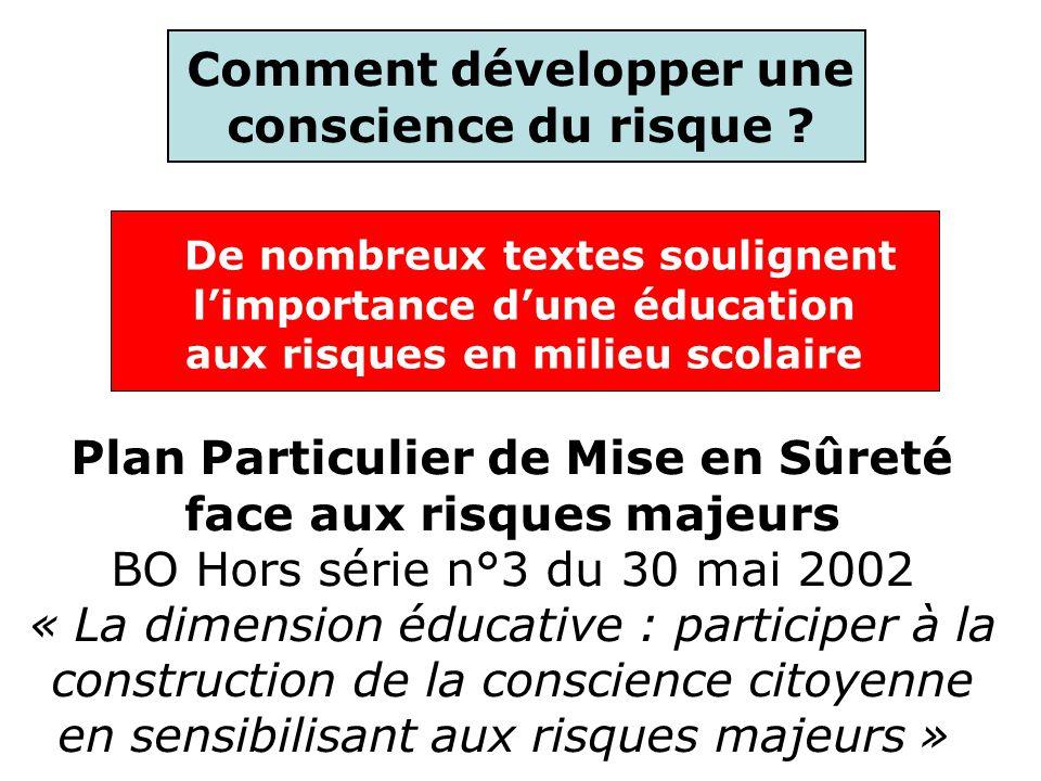 De nombreux textes soulignent limportance dune éducation aux risques en milieu scolaire Comment développer une conscience du risque ? Plan Particulier