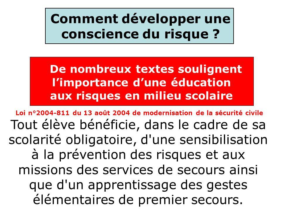 Comment développer une conscience du risque ? Loi n°2004-811 du 13 août 2004 de modernisation de la sécurité civile Tout élève bénéficie, dans le cadr
