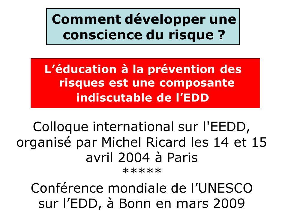 Léducation à la prévention des risques est une composante indiscutable de lEDD Comment développer une conscience du risque ? Colloque international su