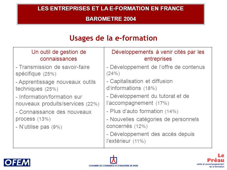 Usages de la e-formation LES ENTREPRISES ET LA E-FORMATION EN FRANCE BAROMETRE 2004 Un outil de gestion de connaissances - Transmission de savoir-faire spécifique (25%) - Apprentissage nouveaux outils techniques (25%) - Information/formation sur nouveaux produits/services (22%) - Connaissance des nouveaux process (13%) - Nutilise pas (9%) Développements à venir cités par les entreprises - Développement de loffre de contenus (24%) - Capitalisation et diffusion dinformations (18%) - Développement du tutorat et de laccompagnement (17%) - Plus dauto formation (14%) - Nouvelles catégories de personnels concernés (12%) - Développement des accès depuis lextérieur (11%)