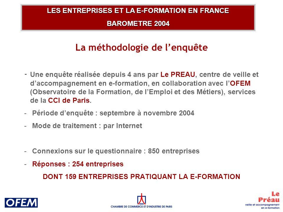 La méthodologie de lenquête - Une enquête réalisée depuis 4 ans par Le PREAU, centre de veille et daccompagnement en e-formation, en collaboration avec lOFEM (Observatoire de la Formation, de lEmploi et des Métiers), services de la CCI de Paris.