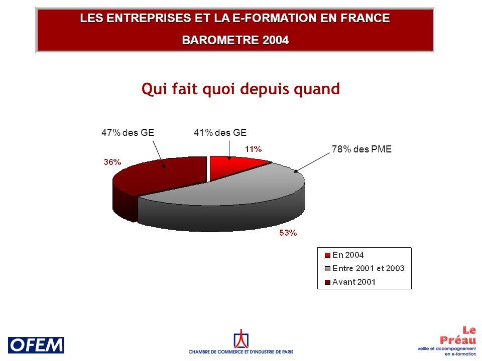 Part de leffectif concerné LES ENTREPRISES ET LA E-FORMATION EN FRANCE BAROMETRE 2004 22% des PME Grandes entreprises