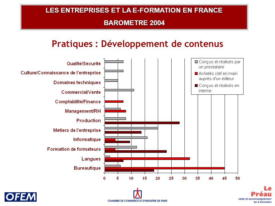 Pratiques : Gestion et développement de LCMS LES ENTREPRISES ET LA E-FORMATION EN FRANCE BAROMETRE 2004 Hébergement Développement