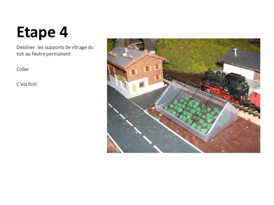 Etape 4 Dessiner les supports de vitrage du toit au feutre permanent Coller Cest fini!
