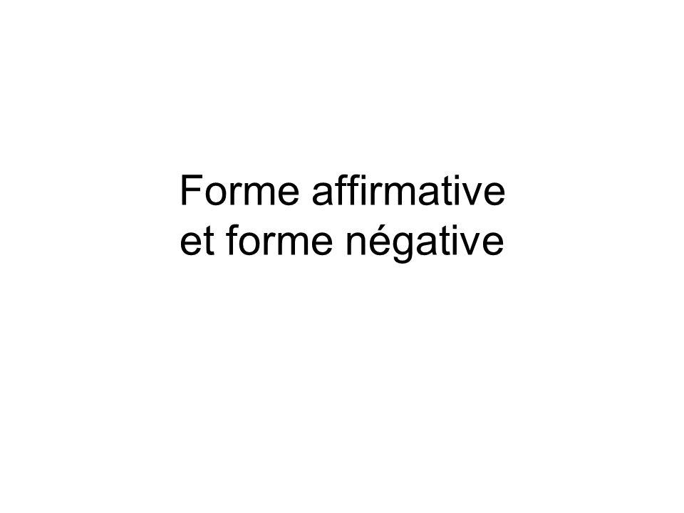 Reconnaître des phrases affirmatives et négatives Construire des phrases affirmatives et négatives