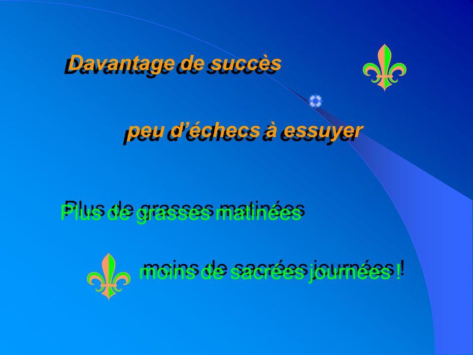 Davantage de succès Davantage de succès peu déchecs à essuyer peu déchecs à essuyer Plus de grasses matinées Plus de grasses matinées moins de sacrées journées .