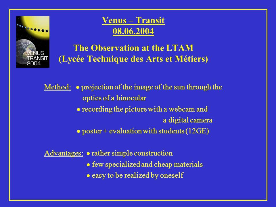 Venus – Transit 08.06.2004 The Equipment 1.Optics (12x50) 2.