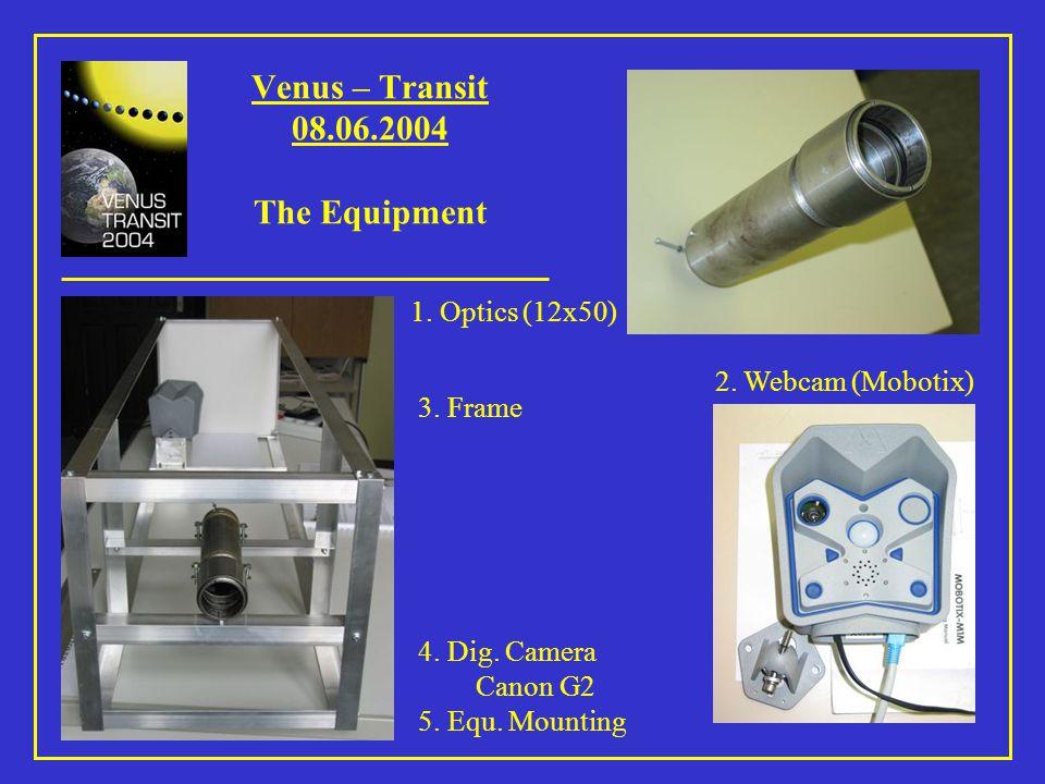 Venus – Transit 08.06.2004 First Test-Picture (Mobotix) Diameter of the Sun: 15 cm Diameter of Venus: 4 mm