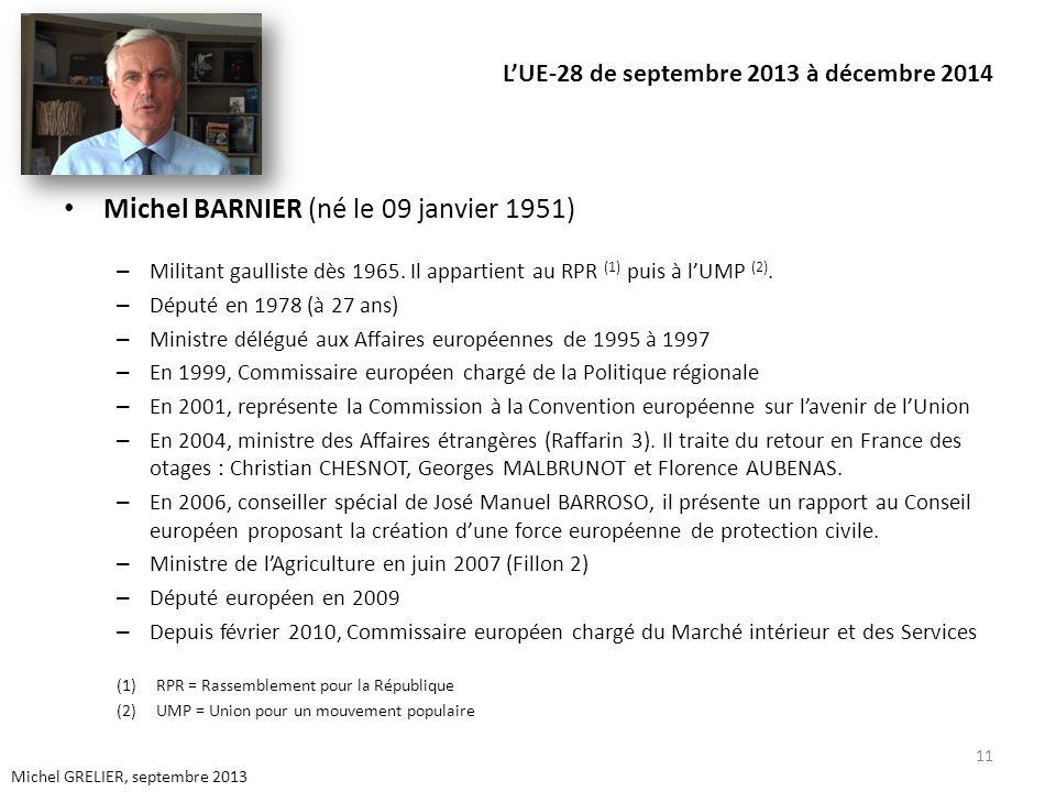 LUE-28 de septembre 2013 à décembre 2014 Michel BARNIER (né le 09 janvier 1951) – Militant gaulliste dès 1965. Il appartient au RPR (1) puis à lUMP (2