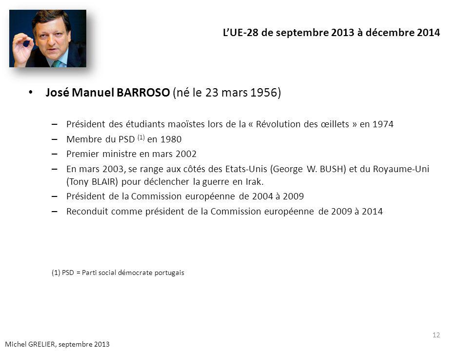 LUE-28 de septembre 2013 à décembre 2014 José Manuel BARROSO (né le 23 mars 1956) – Président des étudiants maoïstes lors de la « Révolution des œillets » en 1974 – Membre du PSD (1) en 1980 – Premier ministre en mars 2002 – En mars 2003, se range aux côtés des Etats-Unis (George W.