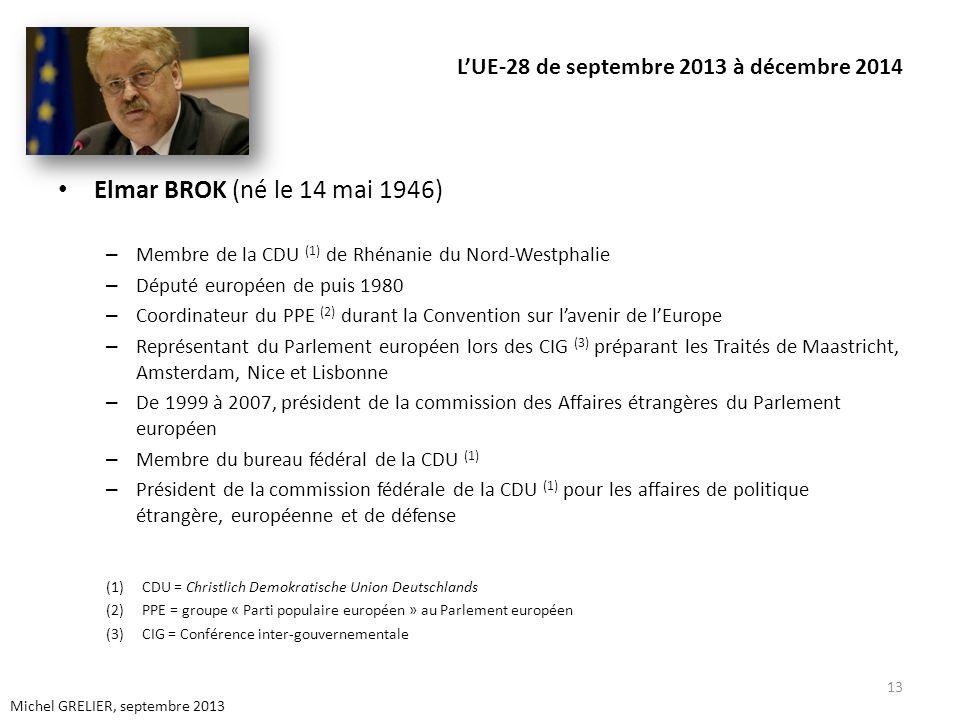 LUE-28 de septembre 2013 à décembre 2014 Elmar BROK (né le 14 mai 1946) – Membre de la CDU (1) de Rhénanie du Nord-Westphalie – Député européen de pui