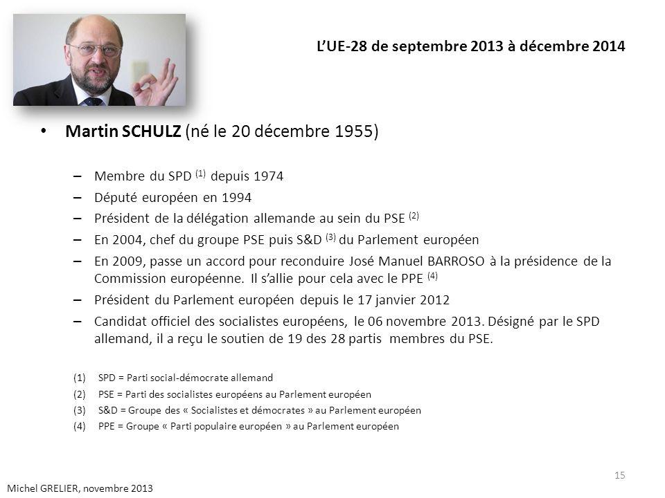 LUE-28 de septembre 2013 à décembre 2014 Martin SCHULZ (né le 20 décembre 1955) – Membre du SPD (1) depuis 1974 – Député européen en 1994 – Président de la délégation allemande au sein du PSE (2) – En 2004, chef du groupe PSE puis S&D (3) du Parlement européen – En 2009, passe un accord pour reconduire José Manuel BARROSO à la présidence de la Commission européenne.
